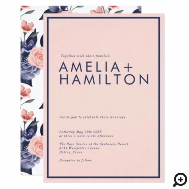 Dusty Rose Watercolor Floral Modern Pink Wedding Invitation