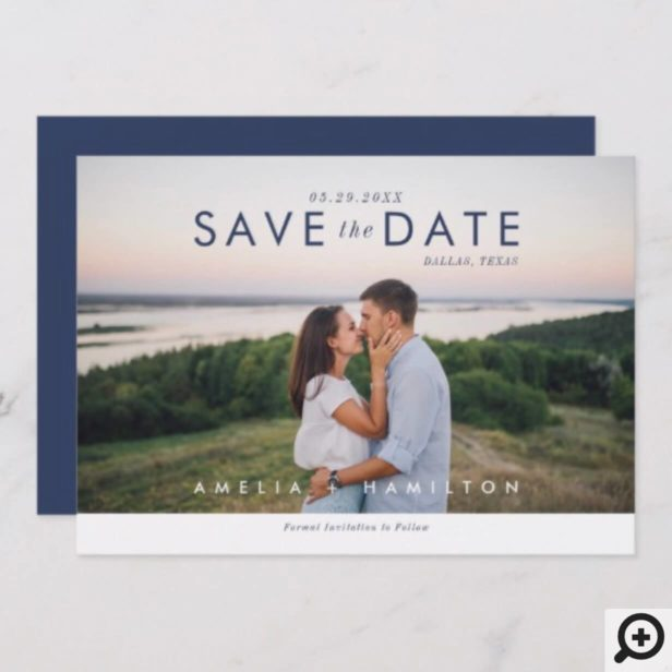 Dusty Rose & Minimal Thank You Wedding Photo Save The Date