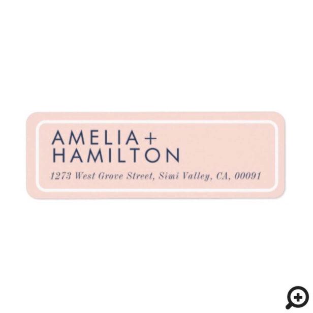 Dusty Rose Modern Minimal Blush Pink Wedding Label