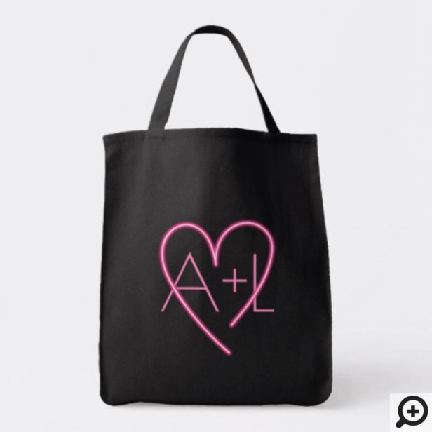 Electric Love Neon Pink Heart & Monogram Tote Bag
