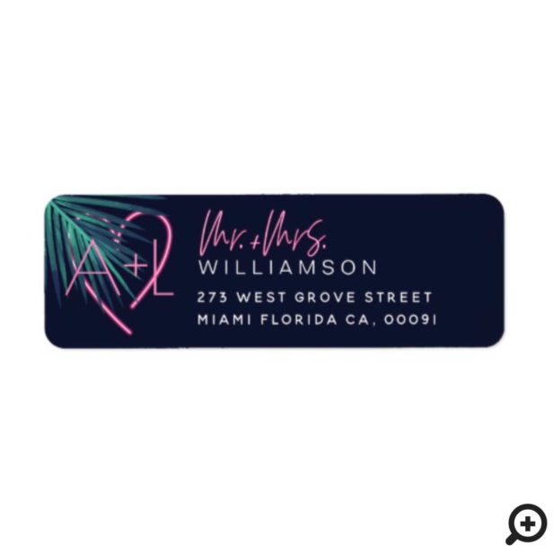 Electric Love Neon Pink Tropical Leaf & monogram Label