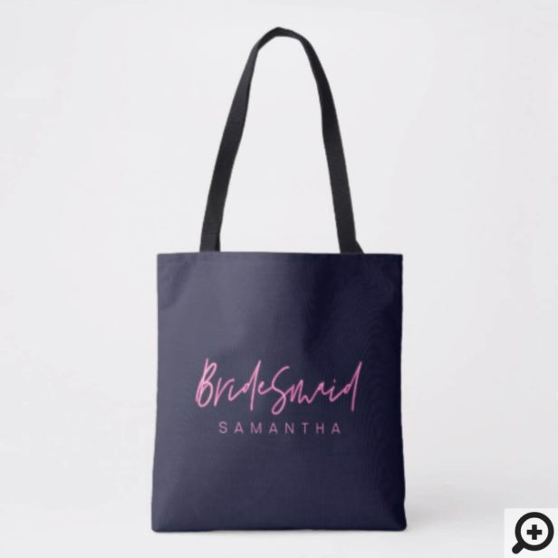 Electric Love Neon Pink Heart Bridesmaid Tote Bag