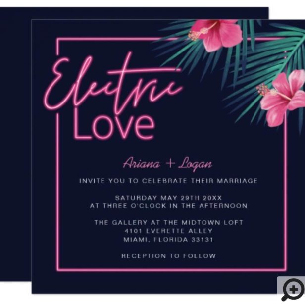 Electric Love Neon Pink Tropical Retro Wedding Invitation