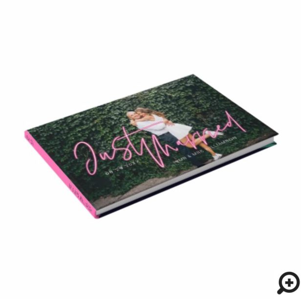 Electric Love Neon Pink Just Married Photo Guest Book