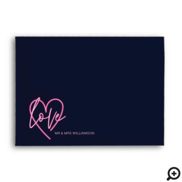 Electric Love Neon Pink Heart & Tropical Floral Envelope