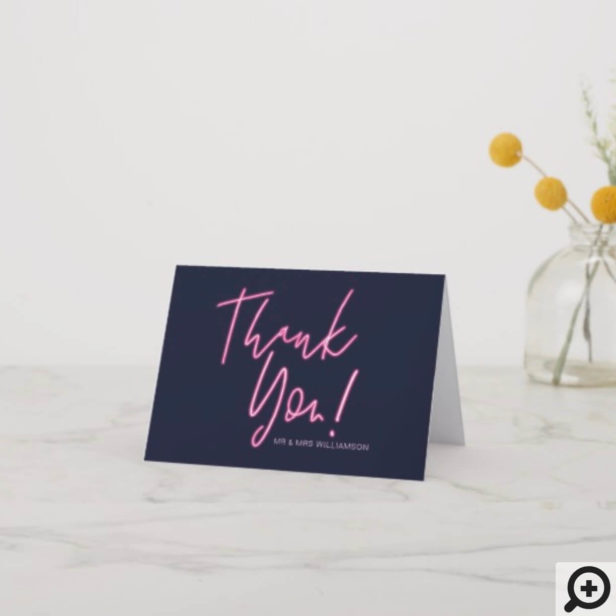 Electric Love Neon Pink Typographic & Heart Thank You Card
