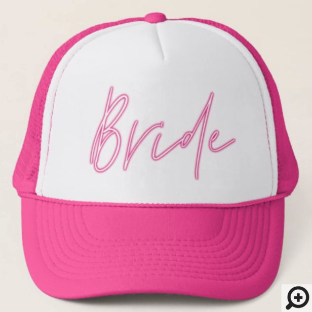 Retro Style Neon Pink Bride Script Trucker Hat