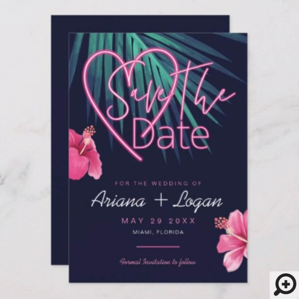 Electric Love Neon Pink Floral & Tropical Retro Save The Date