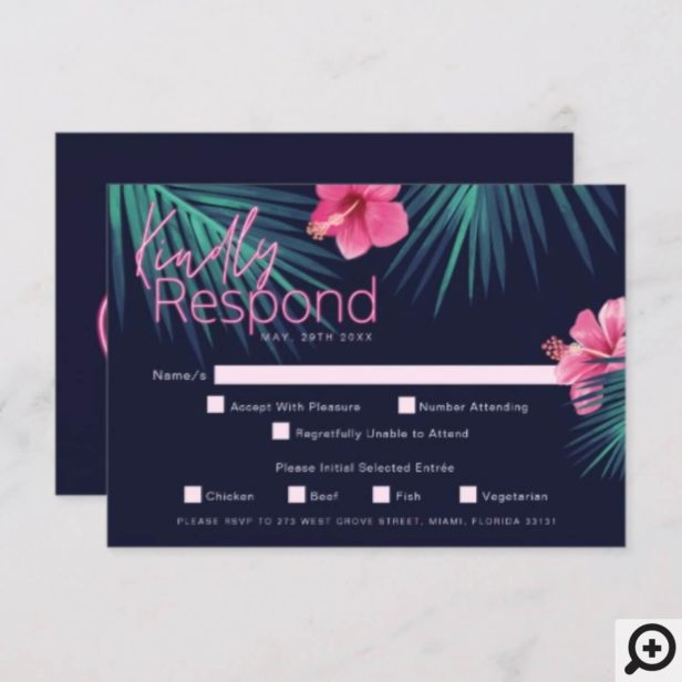 Electric Love Neon Pink Tropical Retro Wedding RSVP Card