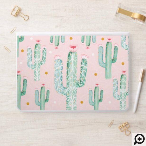 Cactus Watercolor & Floral Holistic Mandala HP Laptop Skin