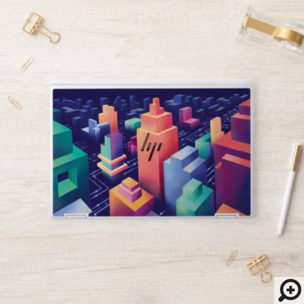 Futuristic Digital Isometric Urban Cityscape HP Laptop Skin