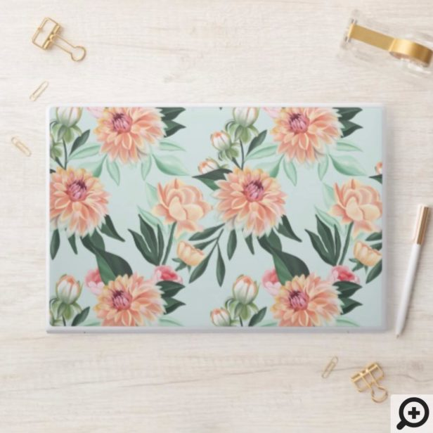 Peach, Mint Vibrant Floral Watercolor Bloom Patten HP Laptop Skin