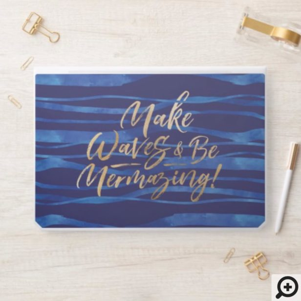 Make Waves | Navy & Gold Inspirational Quote HP Laptop Skin