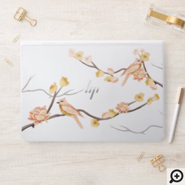 Cherry Blossoms Branch & Watercolor Pearched Birds HP Laptop Skin