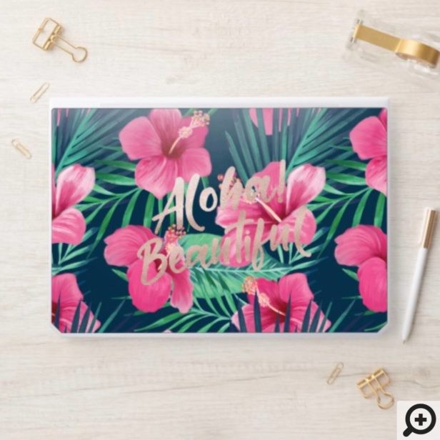 Tropical Watercolor Palm Foliage & Pink Hibiscus HP Laptop Skin