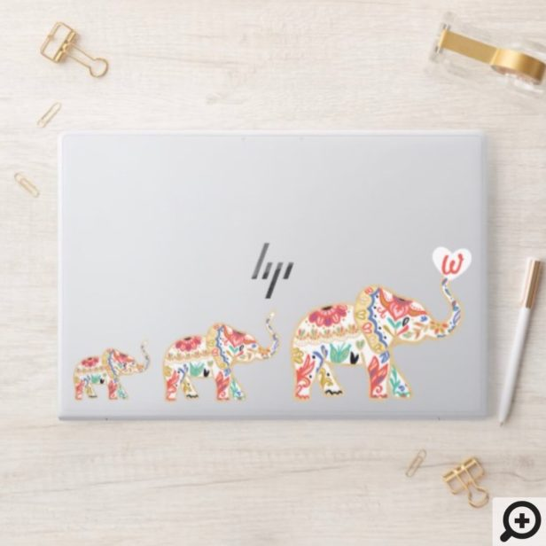 Elegant Elephant Train Decorative Ornate Florals HP Laptop Skin