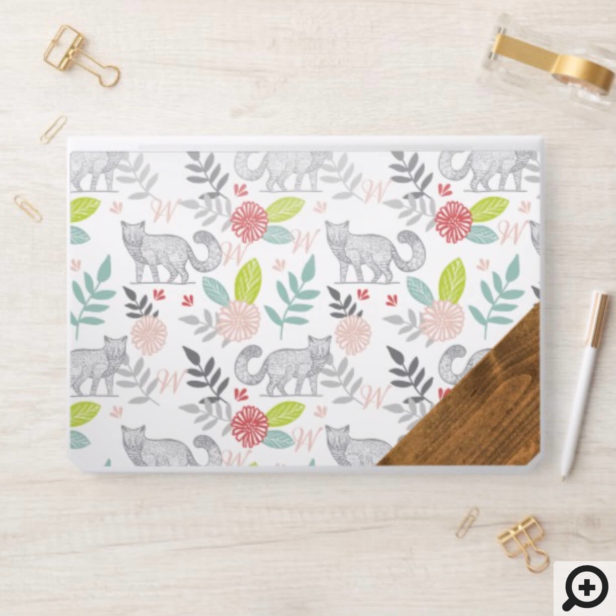 Woodland Forest Fox & Floral Foliage Monogram HP Laptop Skin