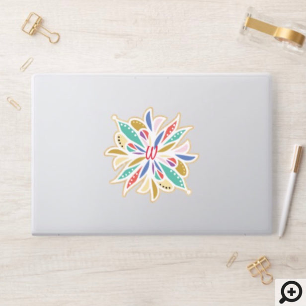 Bohemian Floral Decorative Monogram Mandala HP Laptop Skin