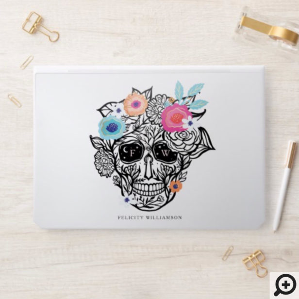 Bold Line Drawn Black & White Floral Sugar Skull HP Laptop Skin