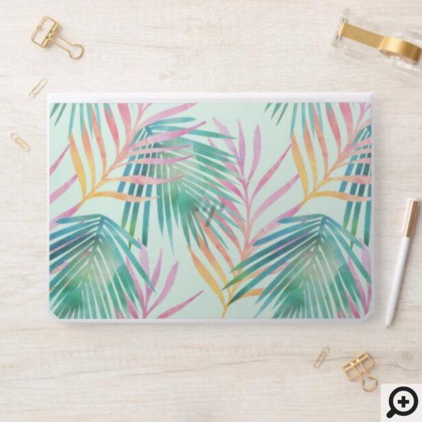 Trendy Pink & Green Watercolor Tropical Palm Leaf HP Laptop Skin