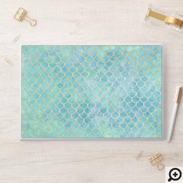 Aqua & Gold Mermaid Scale Pattern HP Laptop Skin