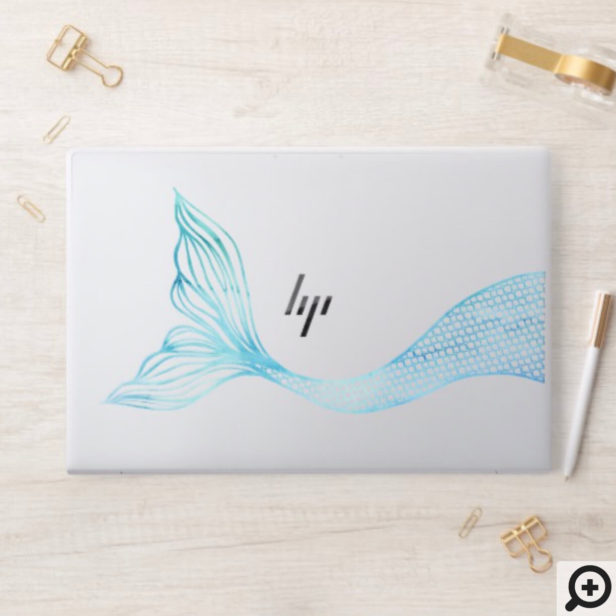 Elegant Oceanic Aqua Watercolor Mermaid Fin HP Laptop Skin