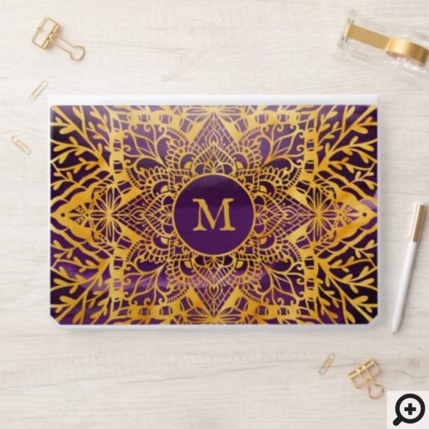Gold & Purple Holistic Lace Mandala Floral Pattern HP Laptop Skin