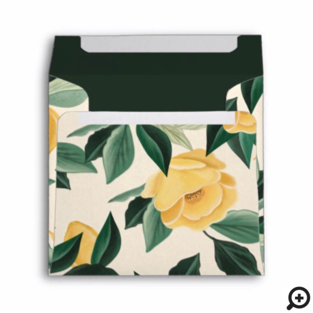Lemon Blossom Floral Tree Pattern Wedding Envelope