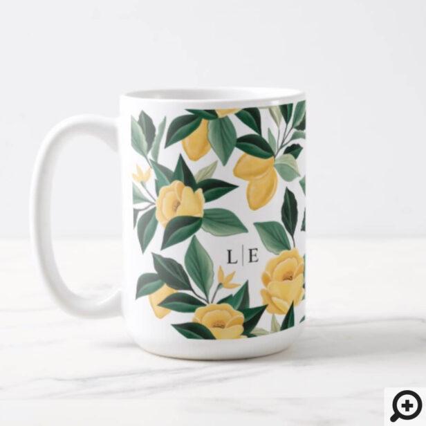Lemon Blossom Floral Tree Elegant Yellow Wedding Coffee Mug