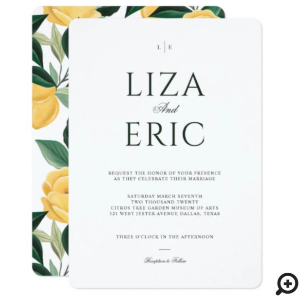 Lemon Blossom Floral Tree Elegant White Wedding Invitation