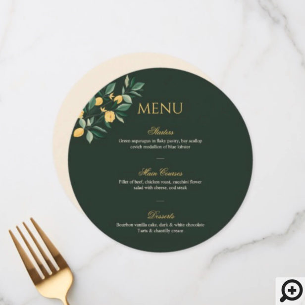 Lemon Blossom Floral Tree Elegant Green Wedding Menu
