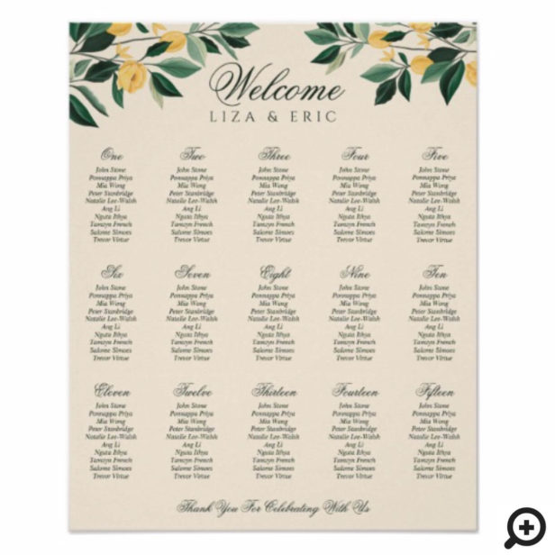 Lemon Blossom Floral Tree Elegant Yellow Wedding Poster