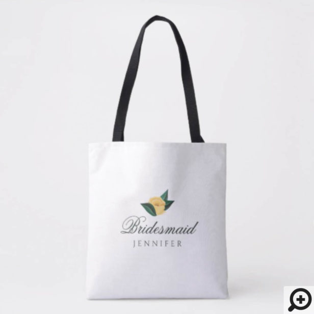 Lemon Blossom Floral Wedding Party Tote Bag