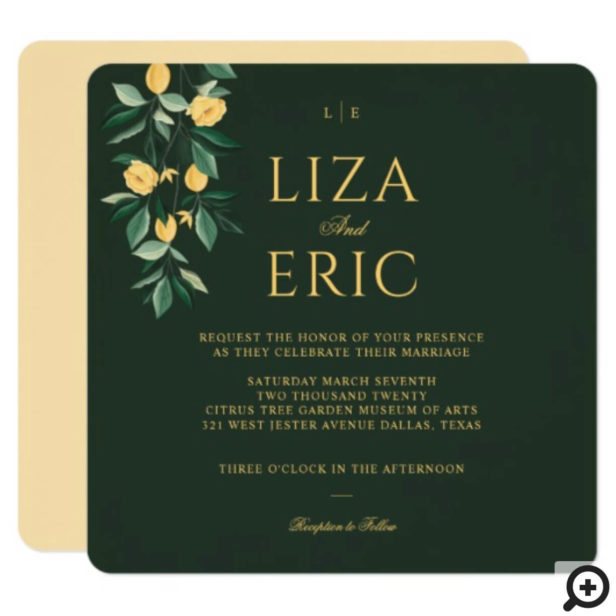 Lemon Blossom Floral Tree Elegant Green Wedding Invitation