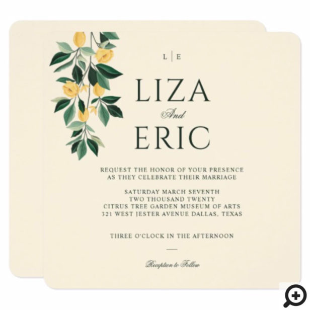 Lemon Blossom Floral Tree Elegant Yellow Wedding Invitation