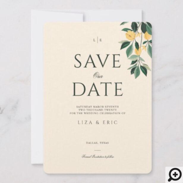 Lemon Blossom Floral Tree Elegant Minimal Wedding Save The Date