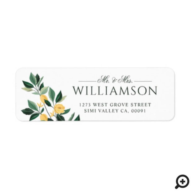 Lemon Blossom Floral Tree Elegant Minimal Wedding Label