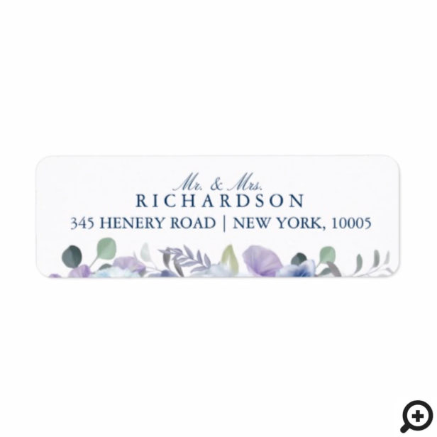 French Blue & Lavender Watercolor Floral Wedding Label