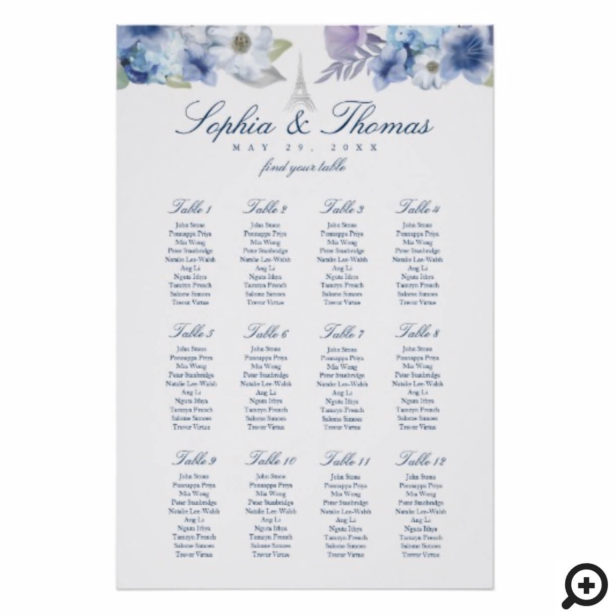 Paris Eiffel Tower Watercolor Floral White Wedding Poster