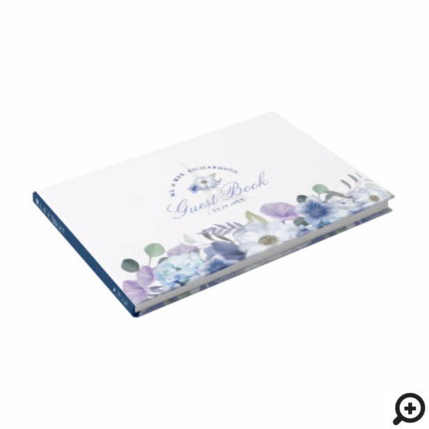 Paris Eiffel Tower Watercolor Floral White Wedding Guest Book