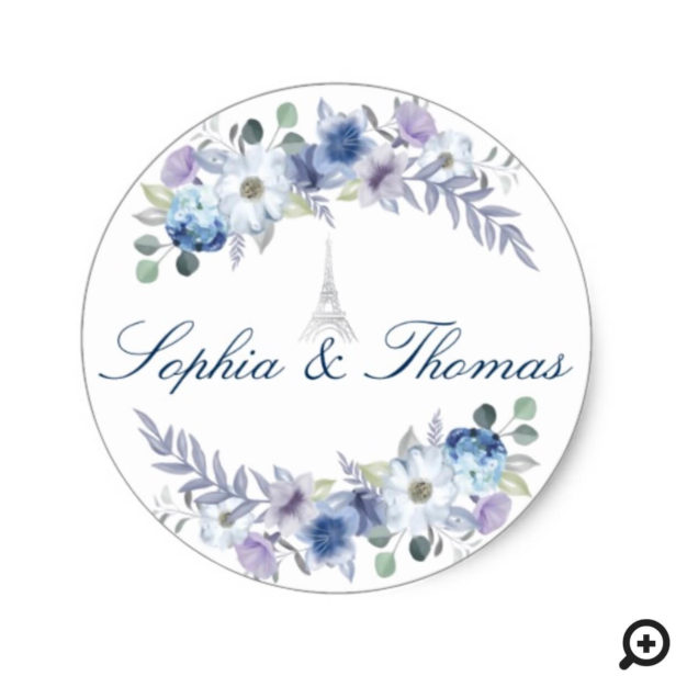 Paris Eiffel Tower Watercolor Floral White Wedding Classic Round Sticker