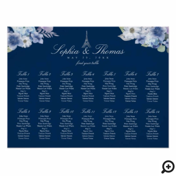 Paris Eiffel Tower Watercolor Floral Navy Wedding Poster