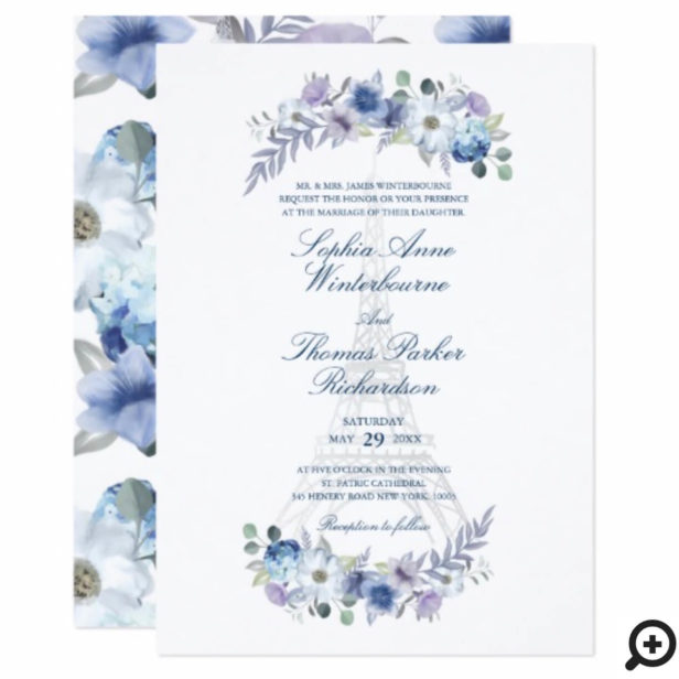 Paris Eiffel Tower Watercolor Floral White Wedding Invitation