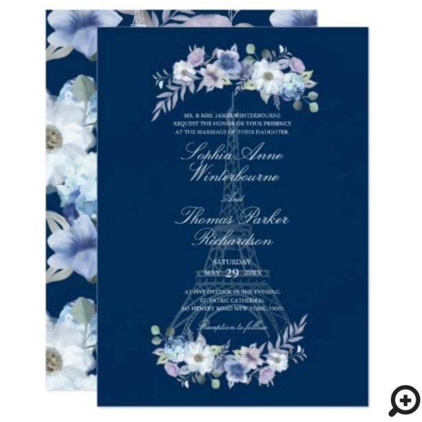 Paris Eiffel Tower Watercolor Floral Navy Wedding Invitation