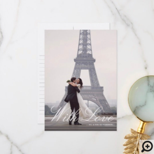 Paris Eiffel Tower Watercolor Floral Wedding Photo Thank You Card