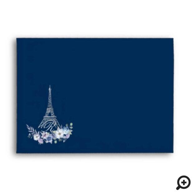 Paris Eiffel Tower Watercolor Floral Navy Wedding Envelope