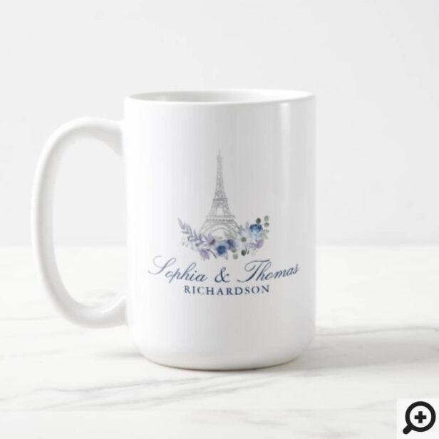 Paris Eiffel Tower Watercolor Floral Navy Wedding Coffee Mug