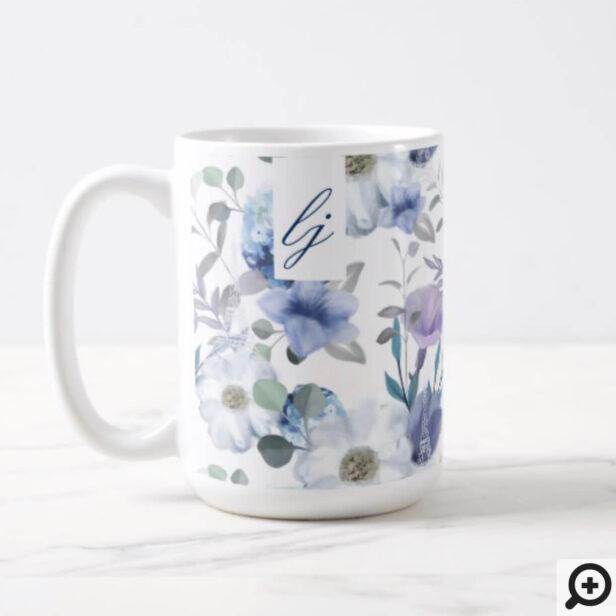 French Blue & Lavender Watercolor Floral Wedding Coffee Mug