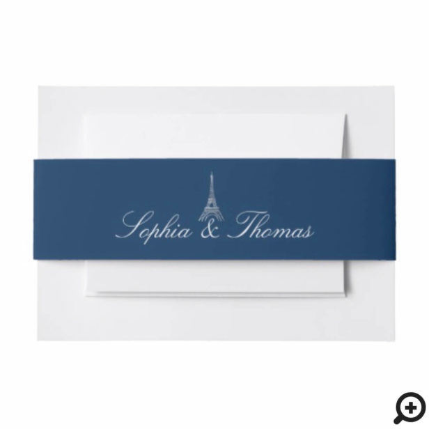 Paris Eiffel Tower Monogram Navy Silver Wedding Invitation Belly Band