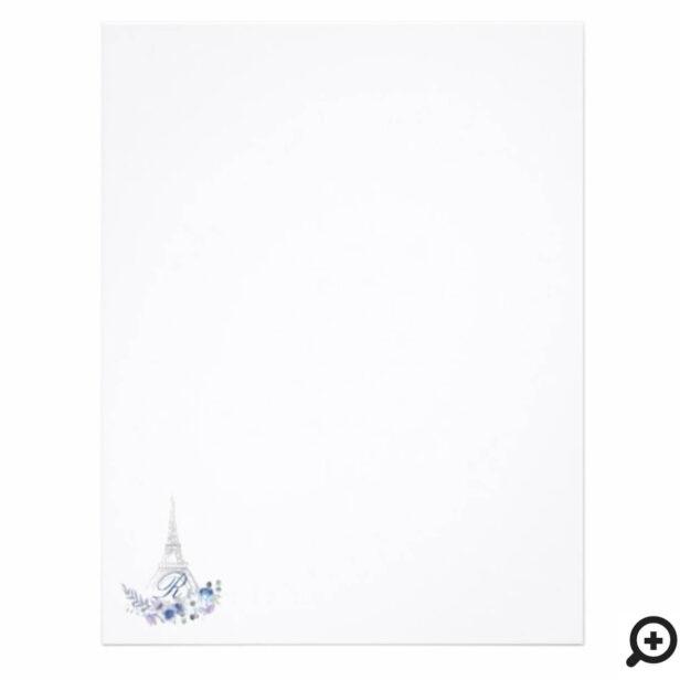 Paris Eiffel Tower Watercolor Floral Monogram Letterhead